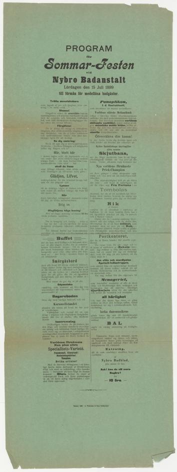En grön affisch med en stor mängd liten text tryckt i svart