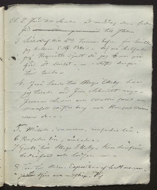 svårläst handskriven text på ett vitt ark