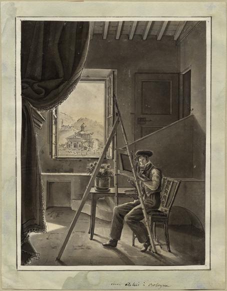en man sitterr och målar vid ett staffli framför ett fönster, genom vilket skymtar en italiensk kyrka