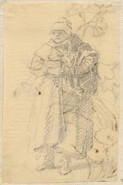äldre sittande kvinna med huckle på huvudet och en käpp i händerna