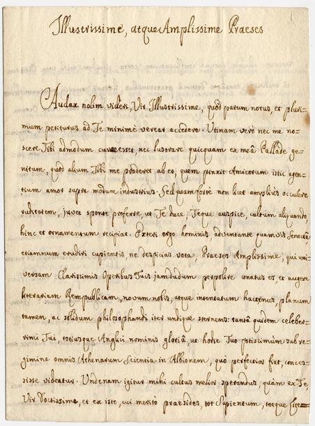 ett pappersark med sirligt skriven text