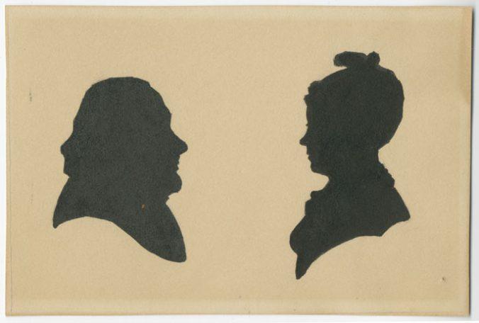 ett manshuvud i högerprofil och ett kvinnohuvud i vänsterprofil
