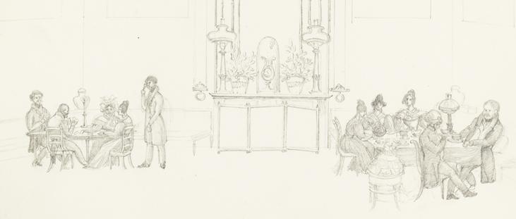 till vänster ett sällskap som spelar kort och röker, i mitten en spegel, till höger ett annat sällskap som spelar kort och pratar