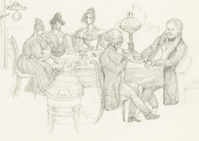 två herrar sitter och samtalar, fyra damer spelar kort
