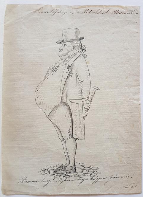 en man med enorm mage i profil