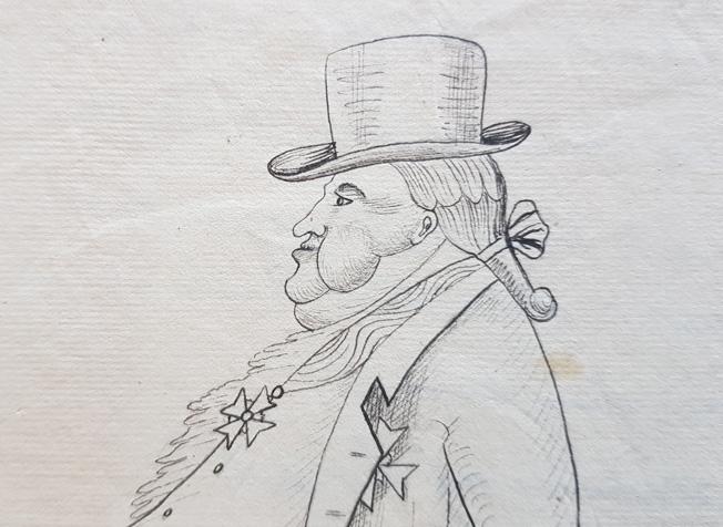 en man med stor dubbelhaka, hatt och medalj på bröstet i profil