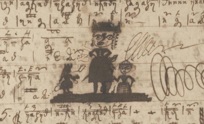 en tecknad person med värja omgiven av två mindre figurer, en i klänning och en med rock, tecknade mitt i tabulaturen