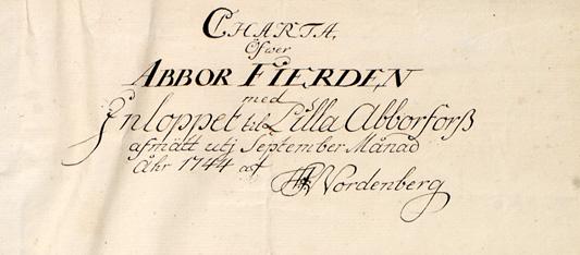 Detalj från kartan med kartans namn och kartografens namnteckning