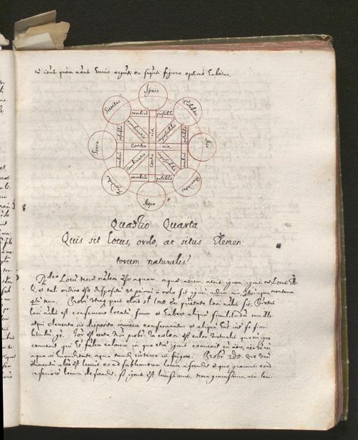 ett blad med snirklig skrift i svart bläck, med en röd illustration bestående av ringar och linjer i ett intrikat mönster