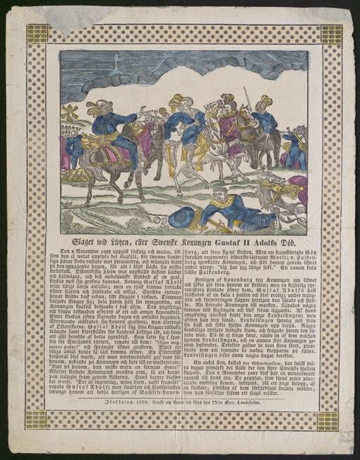 ett kistebrev med en bild på slaget vid lützen ovan och text undertill