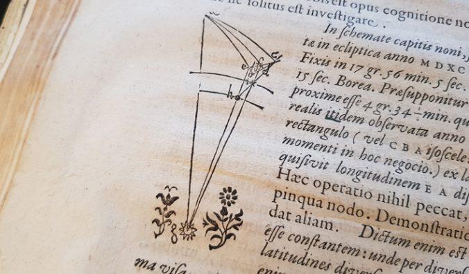 ett litet diagram i en marginal med två små tryckta blommor i nederkanten