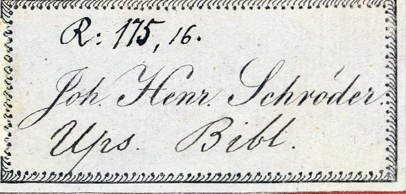 Schröders exlibris i närbild - hans namnteckning på en pappersetikett