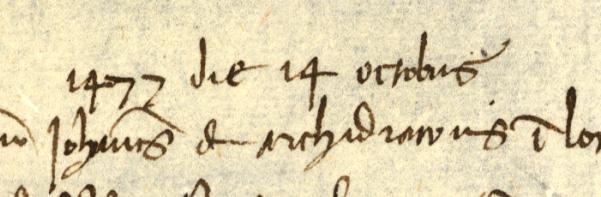 detalj från lista där man ser dateringen 14 oktober 1477