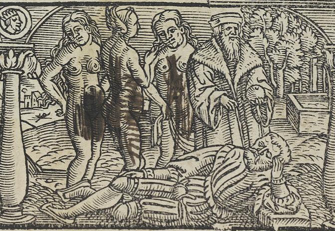 tre nakna damer på ett träsnitt har fått sina kroppar delvis täckta av tusch