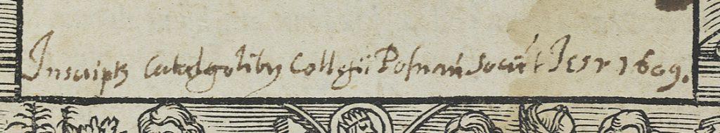 inskrift som talar om att boken kommer från jesuitkollegiets bibliotek