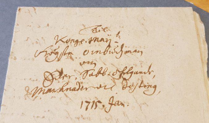adressen på ett brev till Anders Leijonstedt 1715