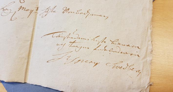 Swedbergs namnteckning i brevet