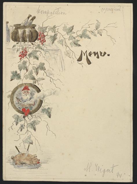 en meny utan text med dekoration i vänstra kanten, en tomte, ett grötfat och en gris
