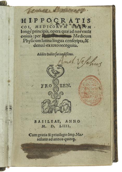 Titelsidan av boken, med Vesalius namnteckning mitt på