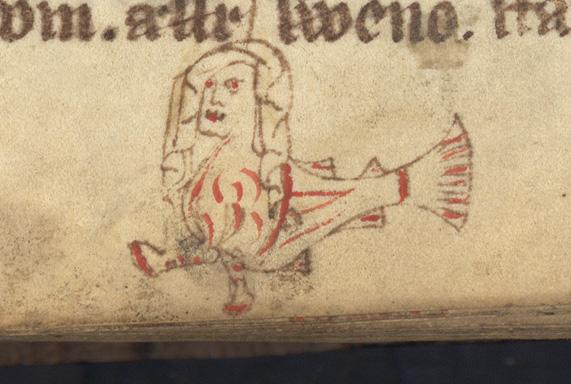 ett kvinnohuvud med huvudduk på en fiskkropp med ett par små fötter målad i rött och svart