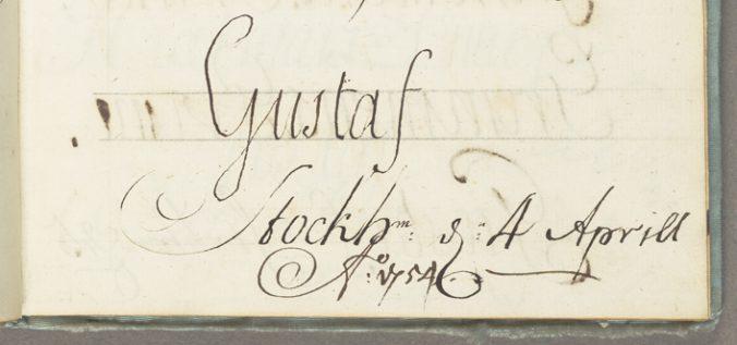 namnet Gustaf präntat med barnslig hand