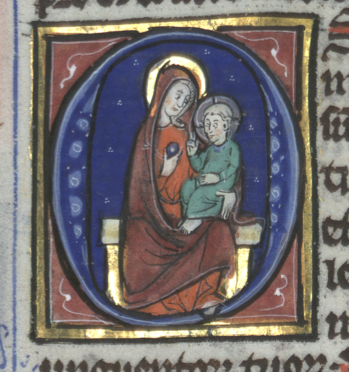 maria i röd mantel har en grönklädd Jesus i famnen, mot blå bakgrund