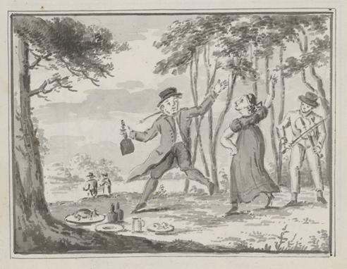 en man och en kvinna dansar ute i det fria, bredvid sig har de en picknick i gräset