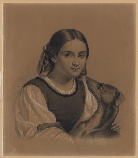 en ung flicka med rosetter i håret och en vinthund som tittar upp på henne