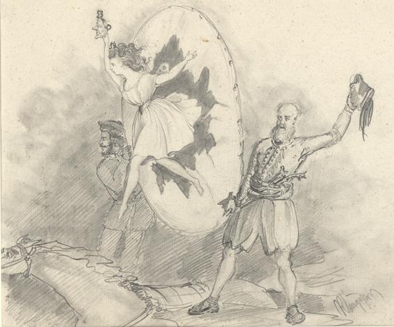 två män håller i en ring, genom vilken en kvinna till häst hoppar