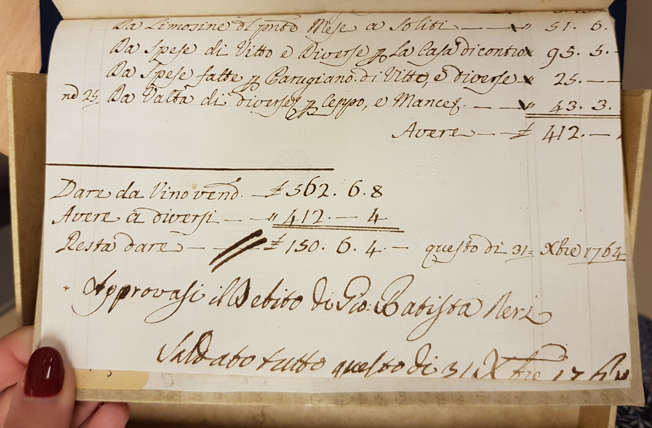 försättsbladet i boken är full med italiensk handskrift med datumet 31 oktober 1764.