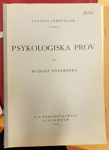 Titelsida med texten Psykologiska prov av Rudolf Anderberg / Statens järnvägar