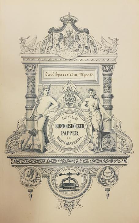en helsida reklam för Carl Sparrström, Uppsala, som har ett lager  av kontorsböcker, papper och skrivmaterial