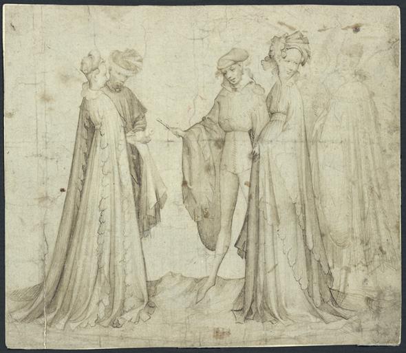 Två par står vända mot varandra, en man till höger sträcker fram en flöjt mot det andra paret.