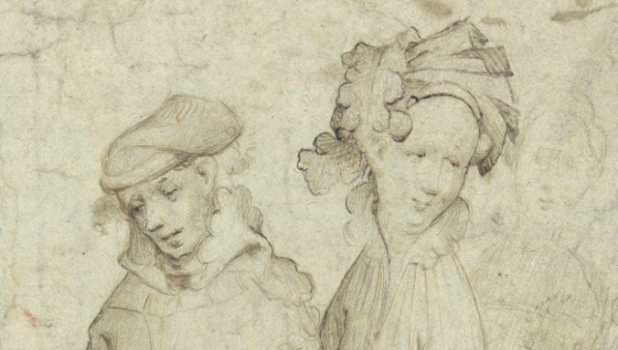 detalj från teckningen med ett mans och ett kvinnohuvud, bägge bär huvudbonader och tittar bort från varandra