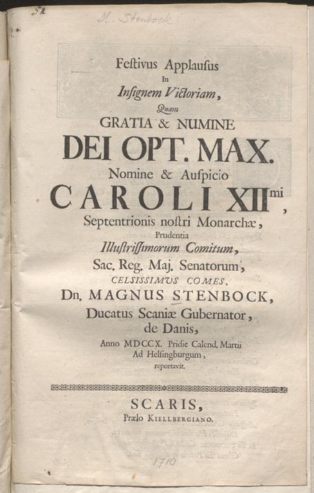 första sidan på trycket med titeln Festivus Applausus