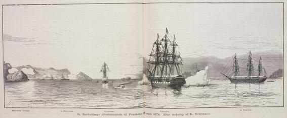 svenska segelfartyg utanför en hamn