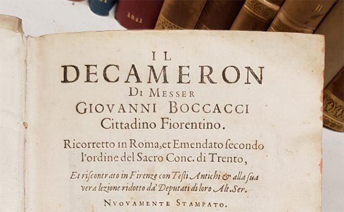Detalj från titelsidan av Decamerone