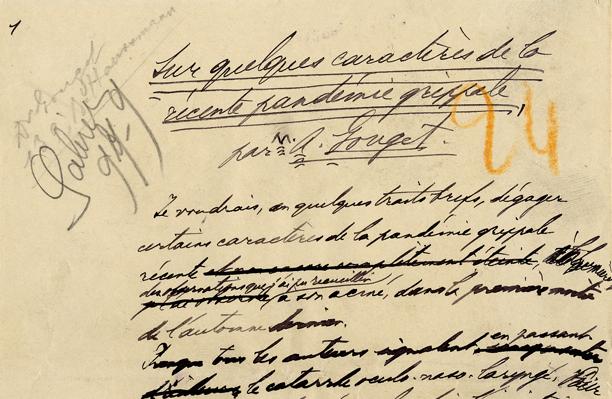 överslroften och de första handskrivna raderna i manuskriptet, skrivna med yvig och svårläst handstil.