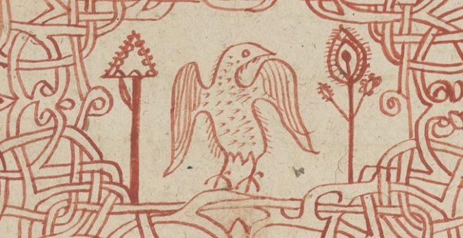 detalj från en kapitelinledning med en fågel mellan två träd tecknade i rött
