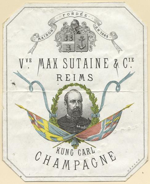 En etikett från en flaska med Karl den femtondes porträtt över den svenska och norska flaggan och texten Kung Carl Champagne