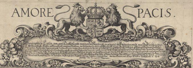 kartans kartusch i närbild med två lejon och texten Amore Paces