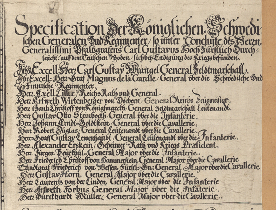 Detalj från kartan med en lista över de svenska generalerna som deltog i trettioåriga kriget