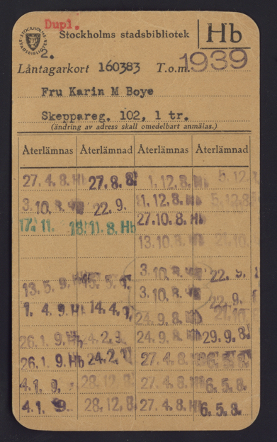 Karin Boyes lånekort på Stockholms stadsbibliotek giltigt till 1939