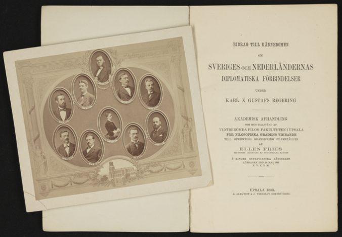 titelbladet till ellen fries avhandling samt ett foto på några ansikten på personer som lade fram avhandlingar i Uppsala samma år
