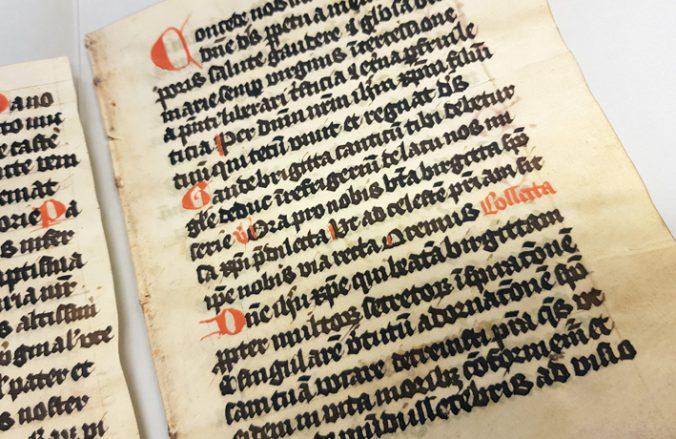 närbild på en handskriven text på pergament där namnet birgitta förekommer på en rad