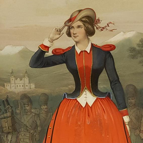 Jenny Lind i röd klänning och blå jacka