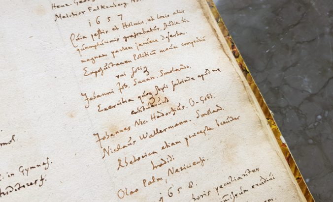 Schefferus handskrivna lista över studenter 1657