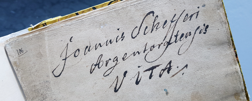 Johannes Schefferus namnteckning i handskriften